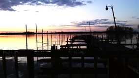 Sonnenuntergangdock stockbild