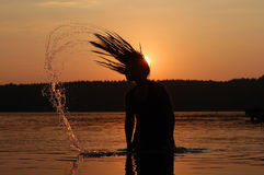 Sonnenuntergangfeiertag am See Lizenzfreies Stockbild