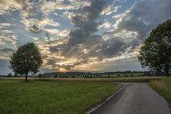 Sonnenuntergangfeld, Baum und Weizenballen im Bayern Stockbilder