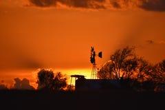 Sonnenuntergangfeuer in Fort Worth Stockbild