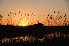 Sonnenuntergangflusssonnen-Wasserlandschaft bunt lizenzfreie stockfotos
