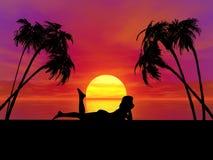 Sonnenuntergangfrau lizenzfreies stockfoto