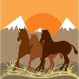 Sonnenunterganggebirgslandschaft und drei Pferde. Stockbild
