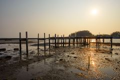 Sonnenunterganghintergrund und -Holzbrücke stockfotos