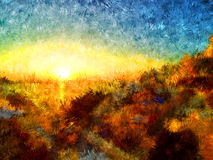 Sonnenuntergangimpressionismuszeichnung Lizenzfreie Stockfotos