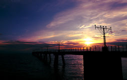 Sonnenuntergangküste stockfotografie