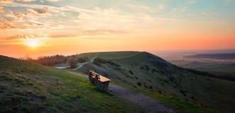 Sonnenunterganglandschaft am hesselberg Lizenzfreie Stockfotos