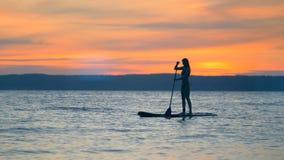 Sonnenunterganglandschaft mit einer herrlichen Dame, die auf ein paddleboard schwimmt Getrennt auf Schwarzem stock footage