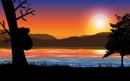 Sonnenunterganglandschaft mit Meer, Berg und Baum mit Koalaschattenbild Stockbilder