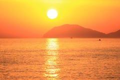 Sonnenunterganglandschaft nahe Dubrovnik, adriatisches Meer, Kroatien Lizenzfreies Stockfoto
