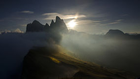 Sonnenunterganglandschaft Seceda Val Gardena, Dolomit, Italien Lizenzfreie Stockfotos