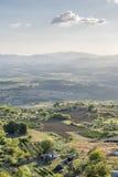 Sonnenunterganglandschaft Toskana stockfoto