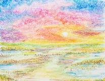 Sonnenunterganglandschaftsölpastell gemalt Stockfotos