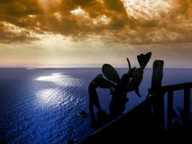 SonnenuntergangmeerCapo Vaticano stockfoto