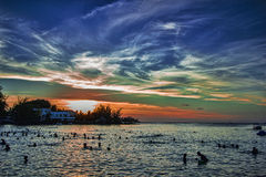 Sonnenuntergangpanoramablick an Pereybere-Strand - Mauritius lizenzfreie stockfotografie