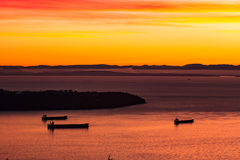 Sonnenuntergangschiffe Lizenzfreies Stockbild