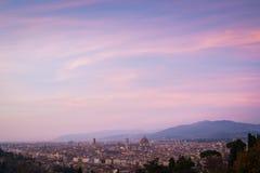Sonnenuntergangskyline Florenz lizenzfreie stockfotos