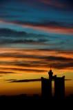 Sonnenuntergangstadt Stockfotografie