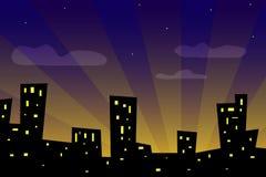 Sonnenuntergangstadt stock abbildung