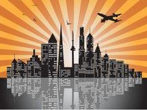 Sonnenuntergangstadt-Skyline lizenzfreie abbildung
