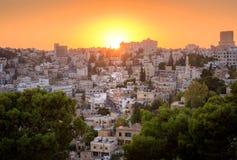 Sonnenuntergangstadtbild Ammans Jordan Middle East stockbild