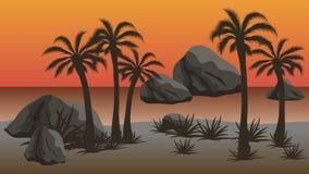 Sonnenuntergangstrand - Vektornachtlandschaftshintergrund Stockfotografie