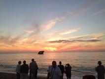 Sonnenuntergangstrandsonnenuntergang Lizenzfreies Stockfoto