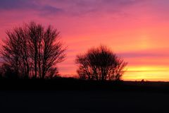 Sonnenuntergangsuffolk stockfotografie