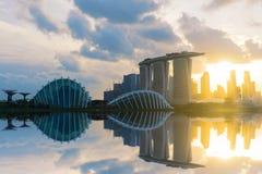 Sonnenuntergangszene des Singapur-Marksteinfinanzbezirkes Stockbilder