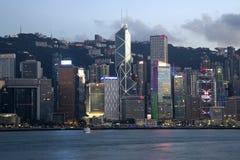 Sonnenuntergangszenen Victoria Harbor-Stadt Hongs Kong China Stockbild