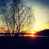 Sonnenuntergangwestküste Schweden Lizenzfreie Stockbilder
