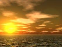 Sonnenuntergangwolken und -wellen stock abbildung