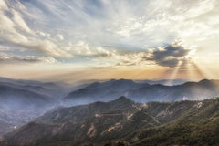 Sonnenuntergangzeit bei Moro Rocks Vista, USA Lizenzfreie Stockfotografie