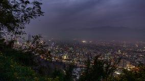 SonnenuntergangZeitspanne über Santiago de Chile-Stadt mit Himmel costanera Wolkenkratzer stock video