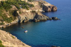 Sonnige Ansicht des Schwarzen Meers krim Stockbild
