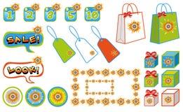 Sonnige Einkaufenverkaufselemente lizenzfreie abbildung