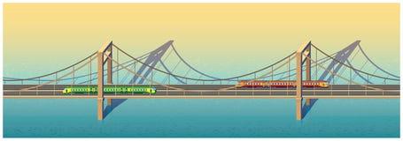 Sonnige Eisenbahnbrücke vektor abbildung