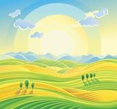 Sonnige ländliche Landschaft mit Rolling Hills und Feldern Stockfotografie