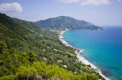Sonnige Landschaft nahe Agios Gordios, Korfu-Insel, Griechenland Stockbild