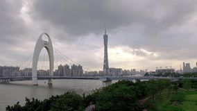 Sonnige Morgenvogelperspektive Guangzhou-Panoramas stock video footage