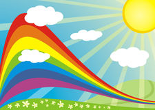 Sonnige Natur des Regenbogens Stockbild