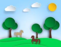 Sonnige Naturlandschaft mit Bäumen, Wiese, Pferd in der Papierkunstart Gruß-Karten-Design Stockfotos