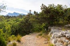 Sonnige Spur und Berge Lizenzfreie Stockfotografie