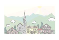 Sonnige Stadt in den Bergen Stockfotografie