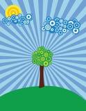 Sonnige Wiese mit Baum Stockbilder