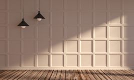 Sonnige Wohnung mit klassischer Wand lizenzfreie stockfotografie