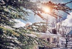 Sonniger eisiger Wintertag Lizenzfreies Stockbild