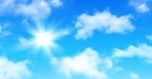 Sonniger Hintergrund, blauer Himmel mit Wolken und Sonne vektor abbildung