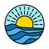 Sonniger Ikone Feiertag am Meerozean-Ferienlogo Lizenzfreie Stockfotos
