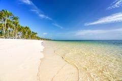 Sonniger Morgen auf tropischem Strand stockfotos